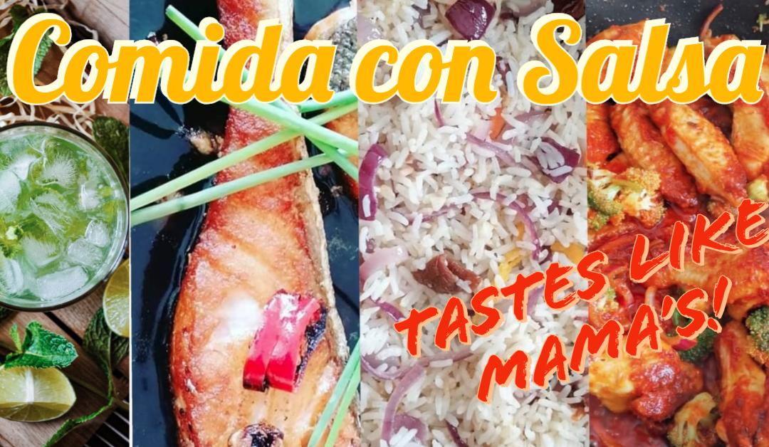 flyer for comida con salsa